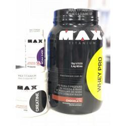 COMBO MAX TITANIUM - WHEY PRO (1KG) + BCAA (60 CAPS) + CREATINE (100G)