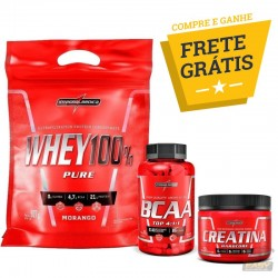 COMBO INTEGRALMÉDICA - WHEY 100% PURE (900G) + BCAA TOP (90 CAPS) + CREATINE (150G)