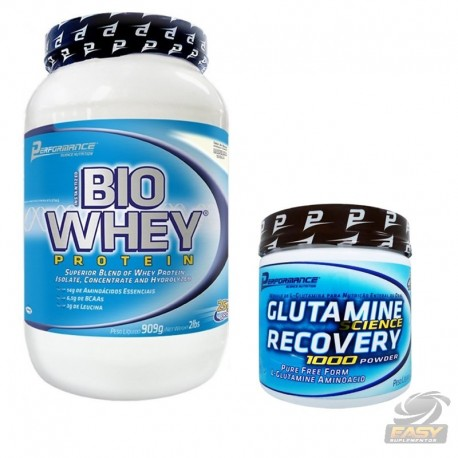 COMBO BIO WHEY PROTEIN (900G) + GLUTAMINA (300G) - PERFORMANCE NUTRITION