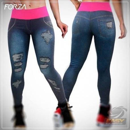 Calça Legging Jeans ( Detalhes Verde) - Garota Elétrica