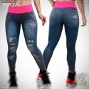 Calça Legging Jeans ( Detalhes Rosa) - Garota Elétrica