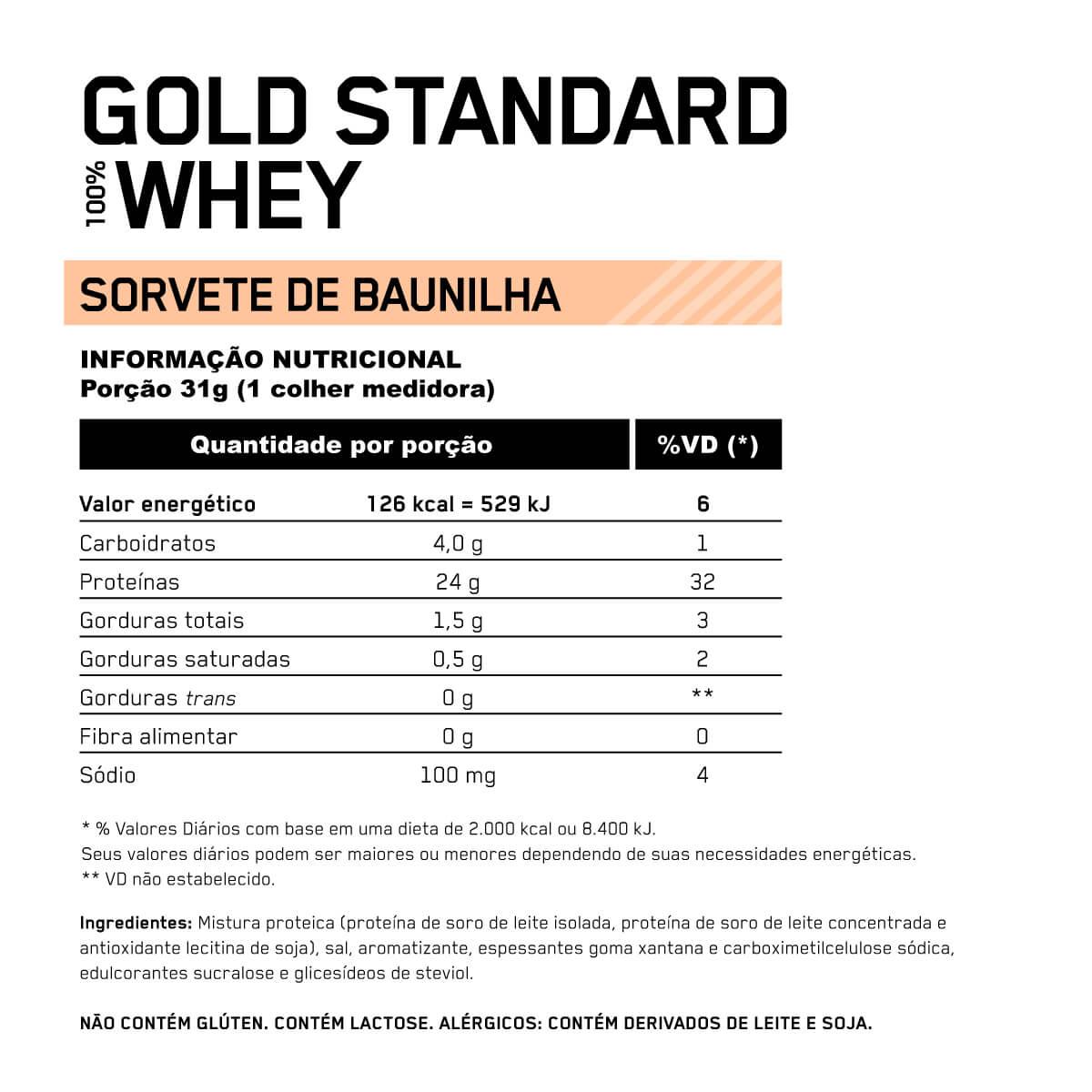 100 WHEY GOLD STANDARD (NOVA EMBALAGEM) (900G) - OPTIMUM NUTRITION - BAUNILHA