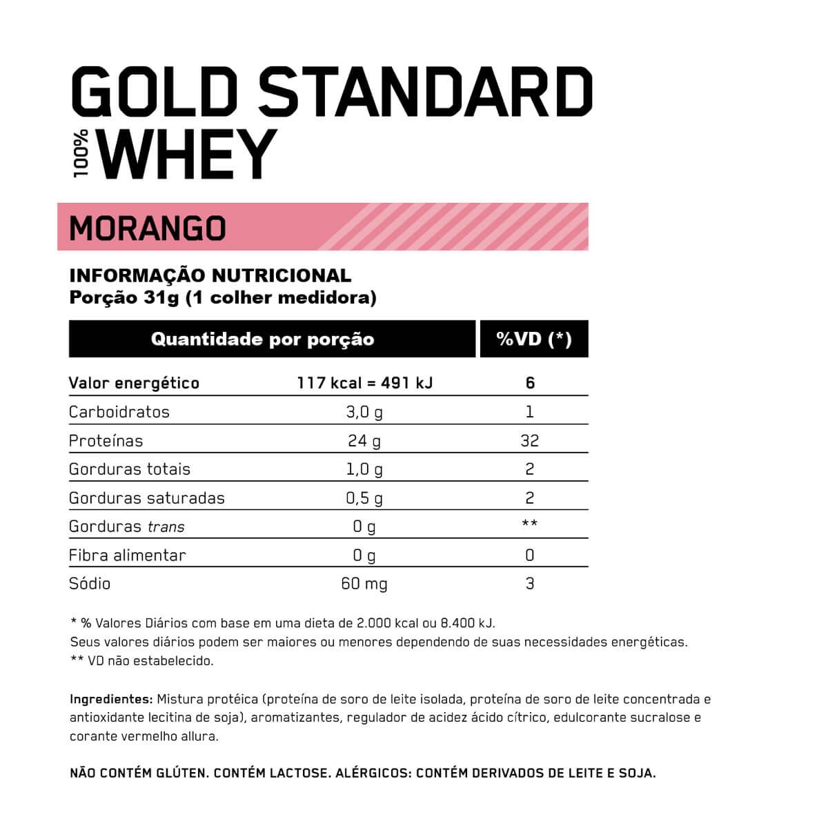 100 WHEY GOLD STANDARD (NOVA EMBALAGEM) (900G) - OPTIMUM NUTRITION - MORANGO