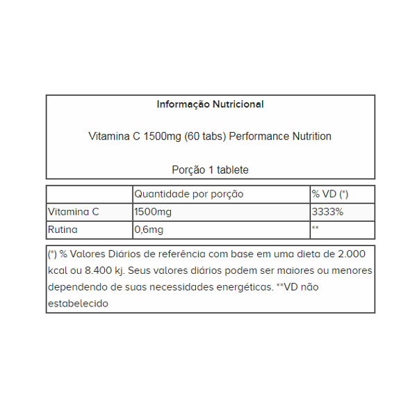 VITAMINA C 1500MG (60 TABLETS) - PERFORMANCE NUTRITION