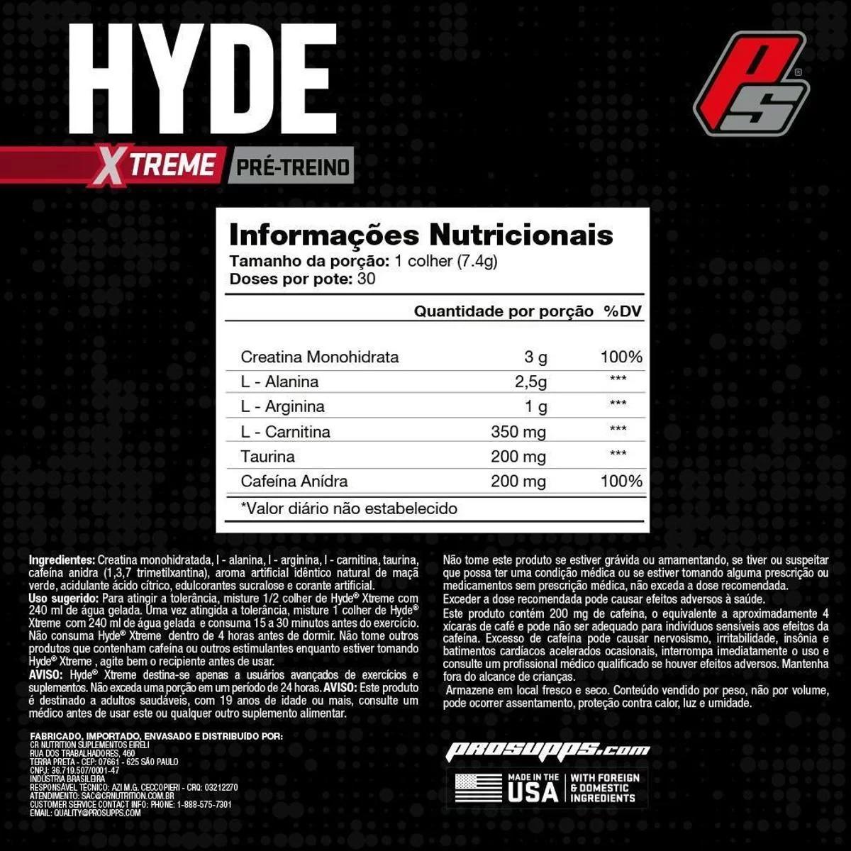 PRÉ-TREINO HYDE EXTREME (222G 30 DOSES) - PROSUPPS