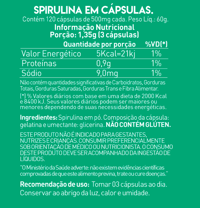 SPIRULINA 500MG (120 CAPS) - TRUE SOURCE