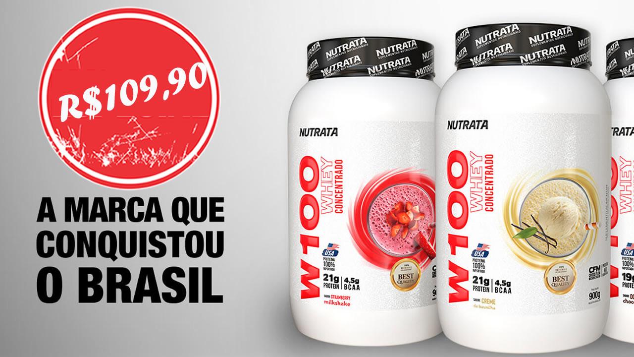 W100 NUTRATA - Possui alto valor nutricional, elevado teor de aminoácidos essenciais, com destaque para os de cadeia ramificada, auxiliando no ganho de massa muscular.